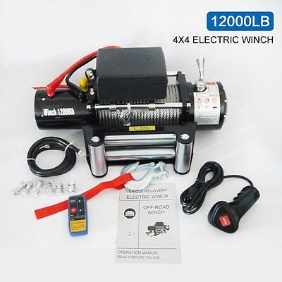 Classic 12000lbs 12V Electric Recovery Winch Truck SUV Durable Remote Control EW
