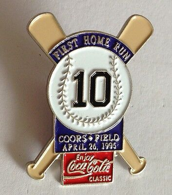 "First Home Run ""10"" Coors Field 1995 Baseball Pin Badge CocaCola Vintage (E2)"