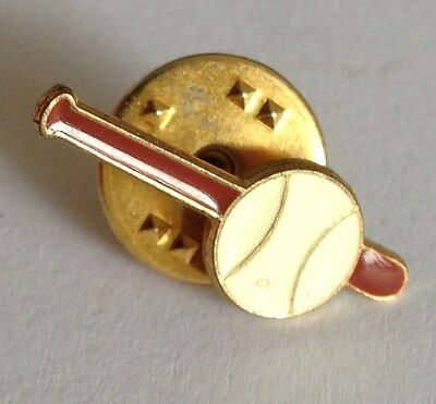 Bat & Ball Baseball Small Pin Badge Rare Vintage (E2)