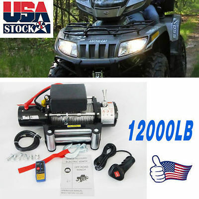 Maxload 12V 12000lbs Electric Recovery Winch with Remote Control Truck SUV US KA