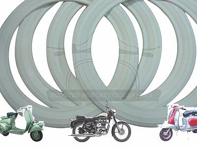 "10"" WHITE WALL TYRE INSERTS 4 PCS 2 TYRE Rim For LAMBRETTA SCOOTS @AEs"