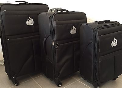 4 tlg reisekoffer set trolley reisekofferset reisen stoff rollen tasche braun eur 106 00. Black Bedroom Furniture Sets. Home Design Ideas
