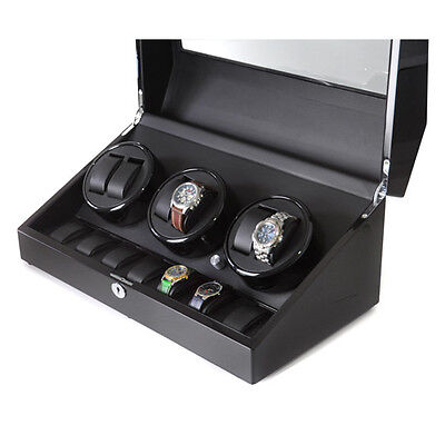 New Watch Winder Presentation Display Cabinet Rotating Winders Storage Box