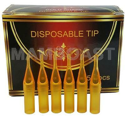 Pack of 50 Tattoo Plastic Disposable Tube Tips for 7RT Tattoo Needles - Yellow
