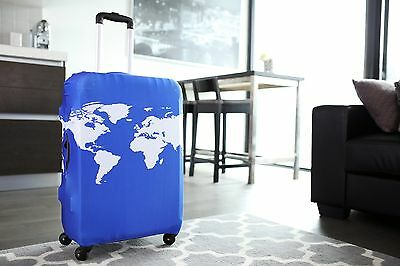 "American Tourister - Luggage Suitcase Cover World Map Cobalt Blue Fits 24""-27"""