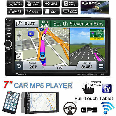 """GPS Navi 7"""" HD Double 2Din Bluetooth Car In Dash Stereo MP5 Player USB/TF/FM/AUX"""