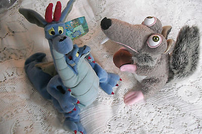 """2Soft Plush Toys From The Movies .size 10"""" Approx Dragon 1998./rat.2002.gc Used."""