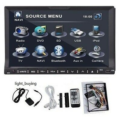 "2 DIN 7"" BT con lettore CD/DVD Autoradio Player IPOD Navi GPS USB/SD TV GAME FM"