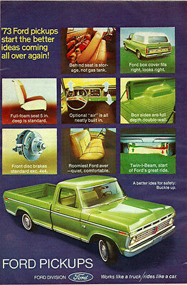 1973 Classic Truk Ad, Ford Pickup Trucks, lime green ' 022114