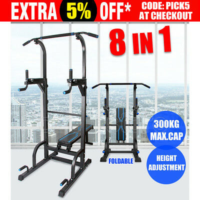 8 IN1 Power Tower Chin Up Home Gym Station Dip Pull Up Knee Raise Weight Bench