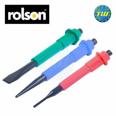 Rolson Engineers 3pc Colour Coded Soft Grip Centre Punch Pin & Chisel Set 26466
