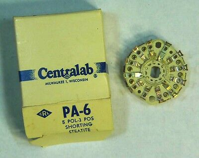 NEW Centralab PA-6 5-Pole 3-Position Steatite Contact Wafer Switch - NOS