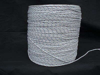 4 mm, 100 meters POLYESTER BRAID on H T Polyester  Rope White / Blue Fleck