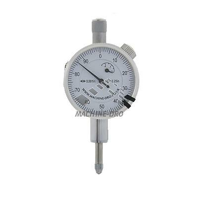 """1/4"""" Inch Dial Indicator Plunger Gauge Mini Imperial Machine-DRO DTI Gage Tool"""