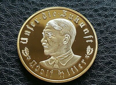 Top Quality Adolf Hitler Gold Plated Military War Ww1 Ww2 Coin