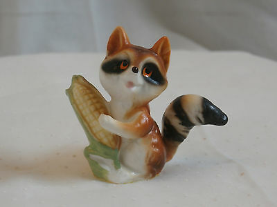 Bone China Raccoon, Little Raccon with Ear of Corn, Made in Japan Bone China