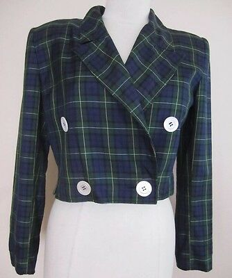 Vintage VALENTINO BOUTIQUE Cropped Jacket In Blackwatch Plaid (Size 6)
