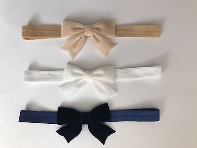 Velvet Bow Baby Girl Headband Soft Elastic Band Glitter Newborn Headbands + Lot