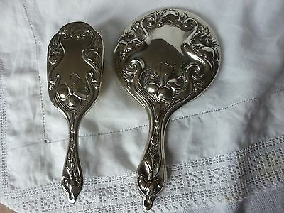 Art Nouveau / Deco Style Heavy Silver plated Dressing Table Mirror & Brush