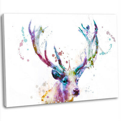 Stag Deer Head Abstract Painting Canvas Print Framed Wall Art Picture