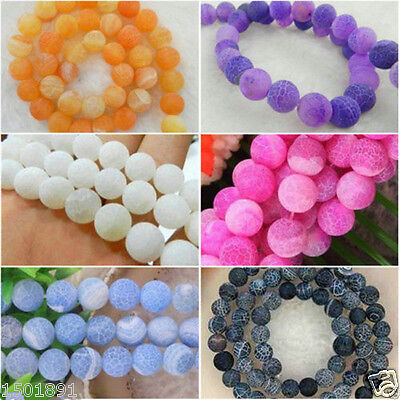 Wholesale ! Multicolor Frost Dream Fire Dragon Veins Agate Loose Beads Gems 14