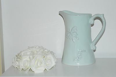 Shabby Chic Duck Egg Butterfly Pitcher Jug Vintage Vase Kitchen Dining Country