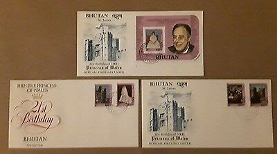 Bhutan, Set of 3 Princess of Wales First Day Covers Cat. Minimum £30