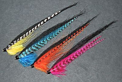 GRIZZLED MONKEY SALMON FLIES ASSORTED COLOURS TIED TO 12 mm. BRASS BOTTLE TUBES.