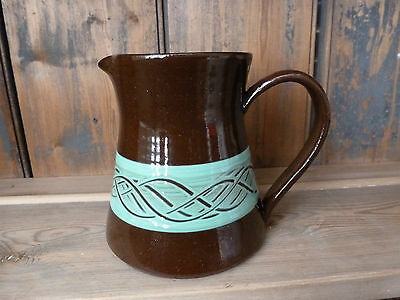 Vintage Studio Pottery Brown and Mint Green Jug by Holkham Pottery Norfolk