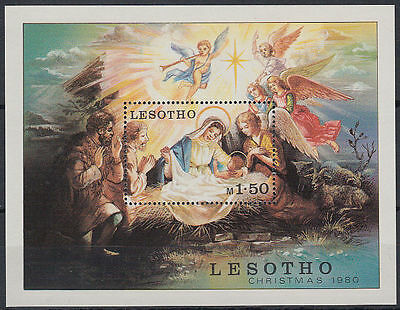 Lesotho 1980 ** Bl.7 Weihnachten christmas Gemälde painting [st2710]