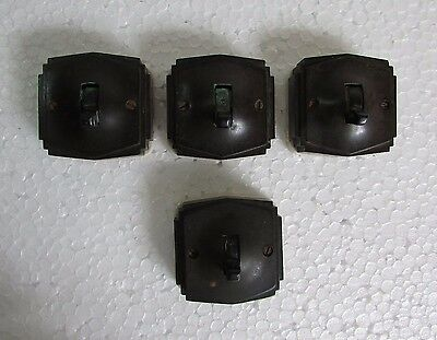 4 Pc Old Vintage Vitreous Brand Ceramic & Bakelite Electric Switches, England