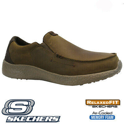 Mens Skechers Leather Relaxed Fit Memory Foam Slip On Walking Trainers Shoes