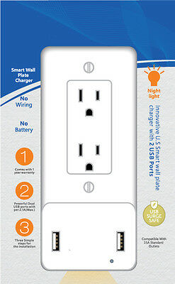 USB Charging Decor Wall Plate With Night Light - White