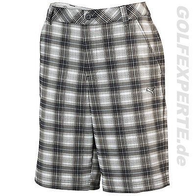 PUMA GOLF HERREN SHORTS MEN'S dry CELL BLUR PLAID TECH WHITE-BLACK-TRADEWINDS