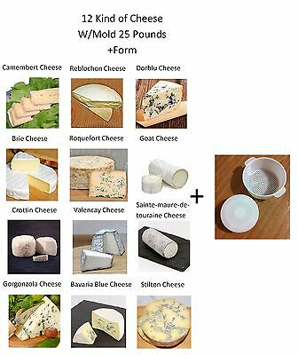 Home Making Kit 12 Kind Of Cheese W/ Mold 25 Pounds + Form + Recipes