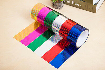 10x Rolls of Holographic Tape Sticky Tape Self Adhesive Tinsel Tape Metallic 15M
