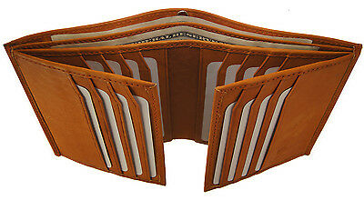 Mens Genuine Cowhide Leather  Euro Multi Slot 2 ID Hipster Bifold Wallet Tan