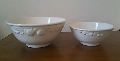 2 Vintage White  Fruit Bowls Made in Italy