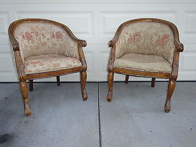 Vintage Pair French Carved Casa Stradivari Club Fireside Lounge Arm Chair