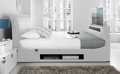 "White Leather Maximus Super King TV Bed Frame Holds up to a 43"" TV"