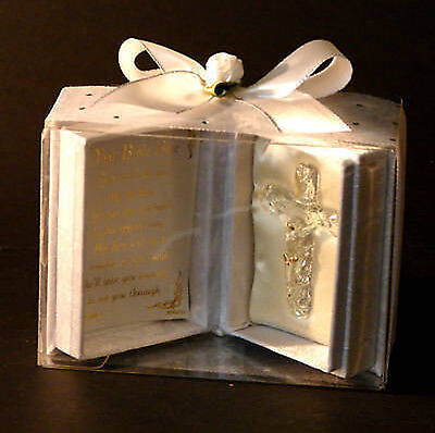 first holy communion Prayer box with crystal glass cross poem & own message CD10