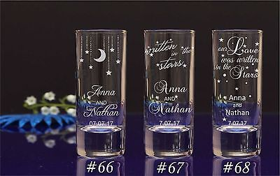 Personalised Star theme Engraved Shot Glass Wedding favors for guests/gift