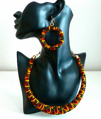 Ankara Earrings and Necklace-African Jewelry Set- Latest Design