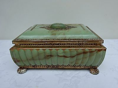 French Trinket Box Biscuit Tin Vintage Collectors Mid Century Faux Onyx Marble