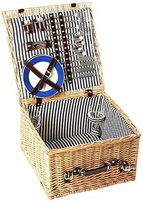 Greenfield Collection Deluxe Winchester Willow 4-Person Picnic Hamper - Midnight