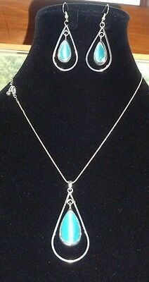 Vintage Turquoise Colored Moonstone  Necklace and Earrings