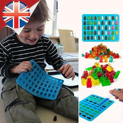 *UK Seller* Silicone 50 Gummy Bear Maker Jelly Chocolate Ice Cube Candy Mould