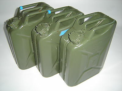 3 Piece METAL CANISTERS 20L JERRY CAN DIESEL TANK CANISTER Metal BW