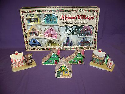 Vintage Alpine Village House Christmas String Lights With Misc. Ornaments In GUC