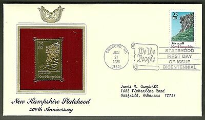 22 kt Golden Replica of US Stamp 1988 FDC New Hampshire Statehood